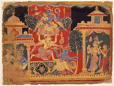 Painting showing Krishna uprooting a branch of the Parijata tree from Indralok (Image source: Wikipedia)